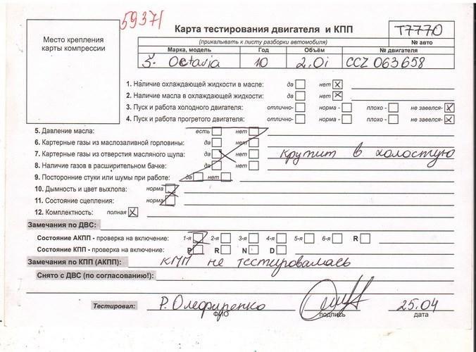 Двигатель (ДВС) Skoda Octavia (A5)  2 л Бензин