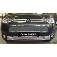 Защитная сетка/решетка радиатора для Mitsubishi Outlander/Митсубиши Оутлендер 2012-2015, фото 1