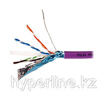 Кабель витая пара Molex, F/UTP, 4 пар., кат. 6, Ø 7,4мм, AWG23, LSZH, 1м катушка 500м, тип прокладки: внутри зданий, цвет: фиолетовый