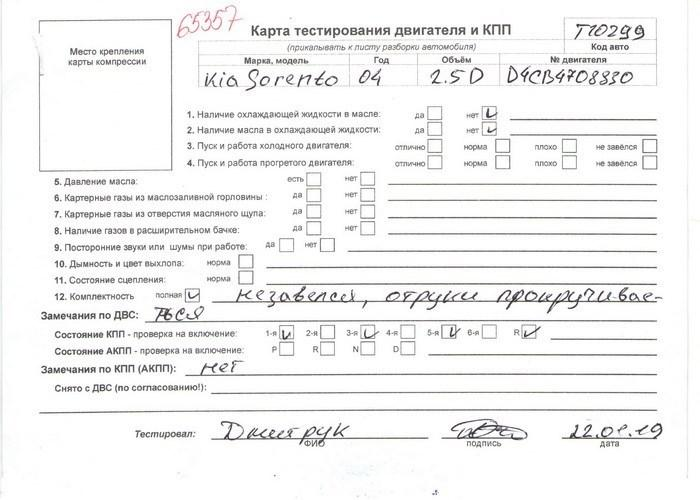 Двигатель (ДВС) KIA Sorento  2.5 л Дизель