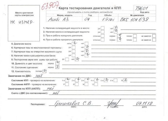 Двигатель (ДВС) Audi A3 (8PA)  1.9 л Дизель