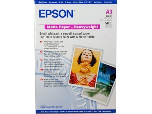 Бумага Epson Matte Paper-Heavyweight A3+, 167 гр/м2 (50 листов) (арт. C13S041264)