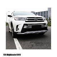 Защитные накладки бампера (губа бампера) Toyota Highlander 2017+ (Тойота Хайлендер)