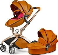 Коляска 2в1 Hot Mom White Edition brown red
