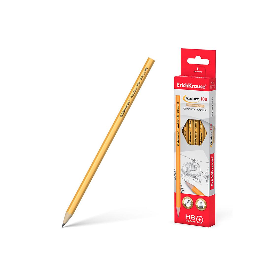 Чернографитный шестигранный карандаш ErichKrause Amber (100 HB)