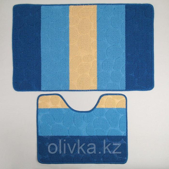 """Набор ковриков для ванны и туалета 2 шт 39х48, 48х76 см """"Полосатый, галька"""" цвет синий"""