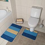 """Набор ковриков для ванны и туалета 2 шт 39х48, 48х76 см """"Полосатый, галька"""" цвет синий, фото 2"""