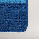 """Набор ковриков для ванны и туалета 2 шт 39х48, 48х76 см """"Полосатый, галька"""" цвет синий, фото 3"""