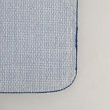 """Набор ковриков для ванны и туалета 2 шт 39х48, 48х76 см """"Полосатый, галька"""" цвет синий, фото 4"""