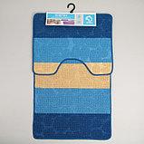 """Набор ковриков для ванны и туалета 2 шт 39х48, 48х76 см """"Полосатый, галька"""" цвет синий, фото 5"""