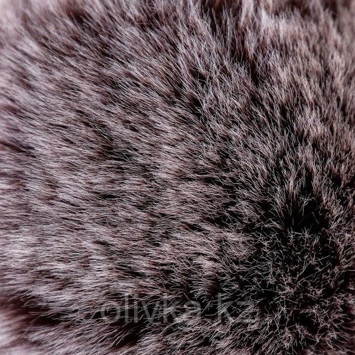 """Помпон искусственный мех """"Тёмный шоколад с белыми кончиками"""" d=9 см - фото 2"""