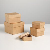 "Набор коробок 5в1 ""Крафт однотонный"" 12 х 12 х 9 - 6 х 6 х 3 см"