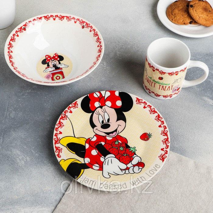 """Набор посуда """"Disney. Минни"""", 3 предмета: кружка 240 мл, миска 18 см, тарелка 19 см, в подарочной упаковке"""