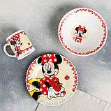 """Набор посуда """"Disney. Минни"""", 3 предмета: кружка 240 мл, миска 18 см, тарелка 19 см, в подарочной упаковке, фото 2"""