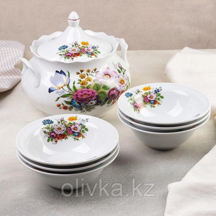 Набор для пельменей «Букет цветов», 7 предметов: ваза для супа 3 л, 6 мисок 600 мл
