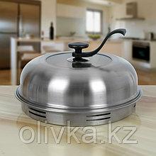 Сковорода 33 см «Гриль-газ», съёмная ручка, стеклянная крышка