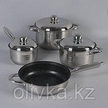 Набор посуды «Вип», 4 предмета: 1,9 л, 3,4 л, 5,8 л, сковорода 24 см, индукция, капсульное дно