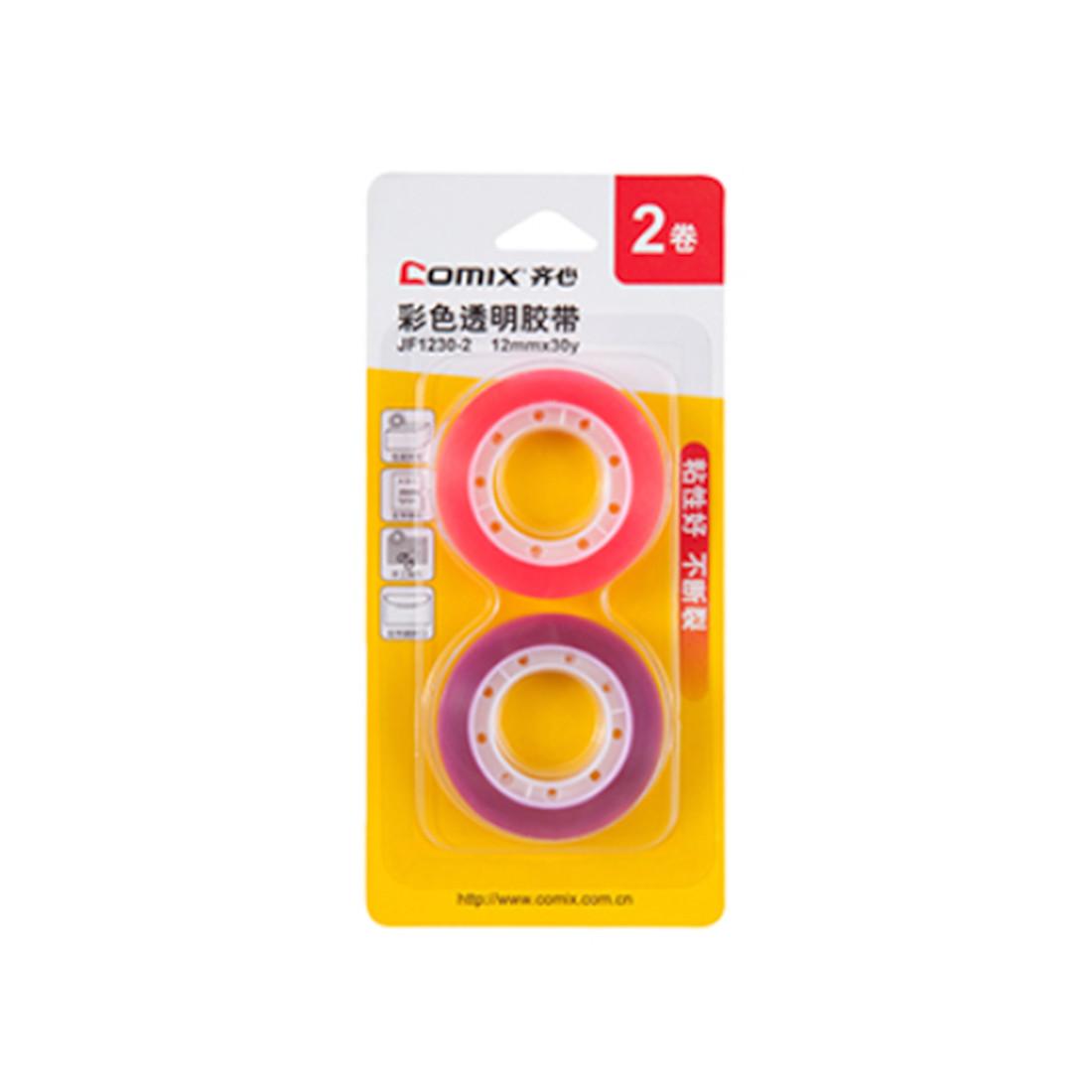 Блистер клейких лент Comix JF1230-2 (12 мм*18.2 м, Красный-фиолетовый)
