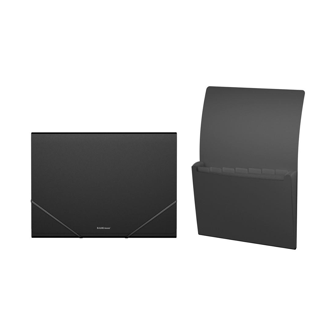 Папка-картотека пластиковая с 6 отделениями ErichKrause Classic (A4, Черный)