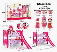 Cs8863 Baby Play House 2 куклы с двухярусной кроваткой и аксесс. 50*33см, фото 1