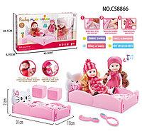 Cs 8866-1 Кукла с кроватью, спальная комната комната Baby play House 50*28см, фото 1