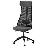 Кресло вращающееся ЭРВФЬЕЛЛЕТ темно-серый ИКЕА, фото 1