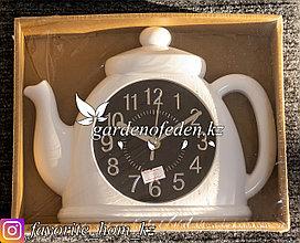 """Часы настенные """"Кофейник"""". Материал: Пластик. Цвет: Белый."""