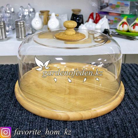 Хлебница круглая, с крышкой. Материал: Дерево/Пластик. Цвет: Натуральный/Прозрачный., фото 2