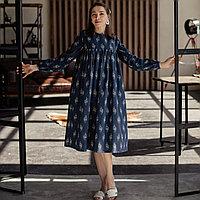 Льняное синее женское свободное платье миди