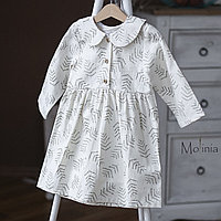 Льняное белое платье миди для девочек
