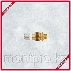 Пресс-соединение со штуцером разъемное,с плоской прокладкой, наружная резьба
