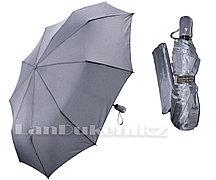 Зонт полуавтомат складной в чехле Dolphin с системой антиветер темное серебро (с блестящим эффектом)