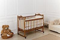 Детская кроватка Incanto Pali с мишкой, колесо-качалка цвет орех, фото 1