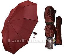 Зонт полуавтомат складной в чехле Dolphin с системой антиветер темно - красный (с блестящим эффектом)
