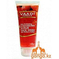 Гель-скраб для умывания с экстрактами клубники и шелковника (Strawberry Scrub Face Wash VAADI Herbals), 60 мл