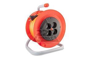 Удлинитель на катушке LUX К4-О-50 50м ПВС 2x0.75 10А 4 розетки без заземления