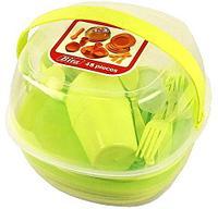 Набор посуды в боксе для пикника Bita на 6 персон {48 предметов} (Зеленый)