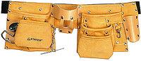 """Пояс STAYER """"MASTER"""" для инструментов, кожаный, 10 карманов, 3 подвески"""