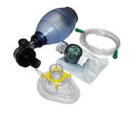 Мешок дыхательный силиконовый типа Амбу с двумя масками, многоразовый, автоклавируемый для взрослых