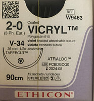 W9463 Викрил фиолетовый М3 (2/0) 90 см игла таперкат V-34