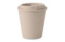 Термостакан с крышкой с двойными стенками. Изготовлен из смеси 50% бамбукового волокна и 50% полипропилена. Ем