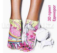 Носки укороченные с 3D рисунком радужный Единорог короткие носочки с цветным принтом