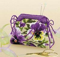 """Набор для вышивания крестом """"Игольница-сумочка. Анютины глазки"""""""