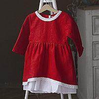 Льняное красное платье для девочек с кружевом