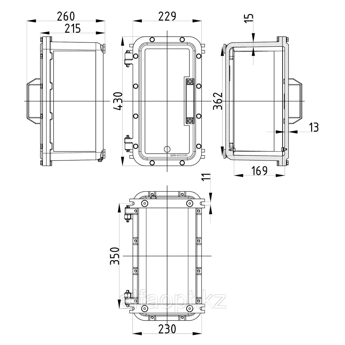 Взрывозащищенная коробка ЩОРВ-Н432221 (взрывонепроницаемая оболочка) из нержавеющей стали