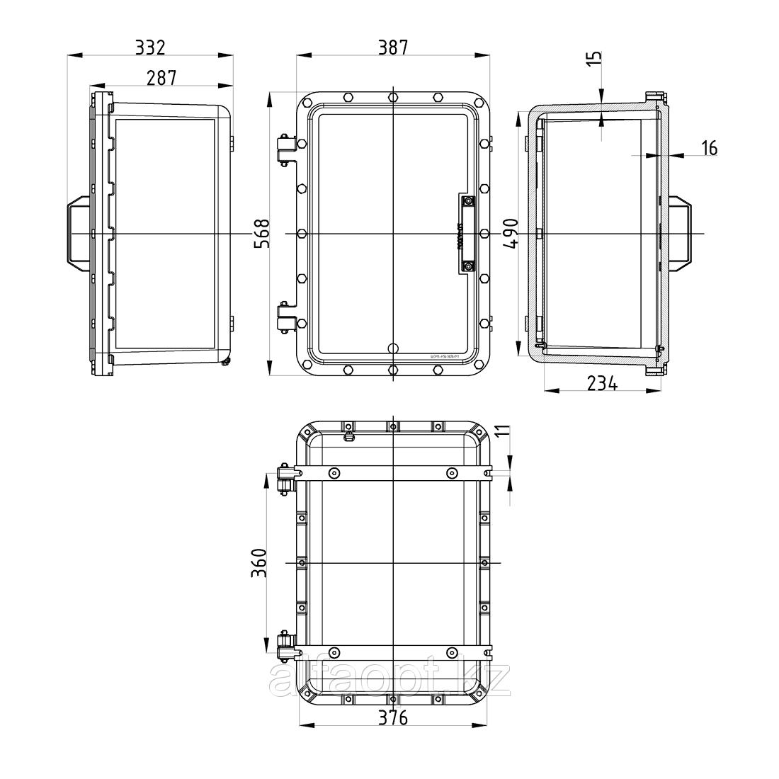 Взрывозащищенная коробка ЩОРВ-Н563828 (взрывонепроницаемая оболочка) из нержавеющей стали