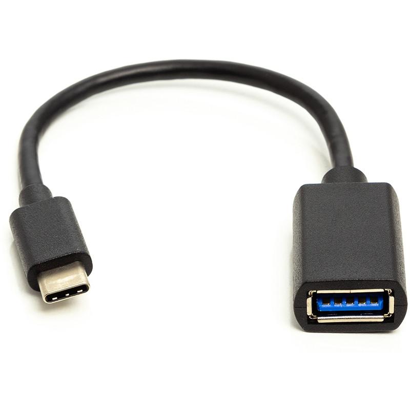 Кабель PowerPlant OTG USB 2.0 AF - Type-C, 0.1 м