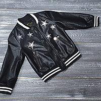 Куртка из экокожи черная Phillip Plein со звездами