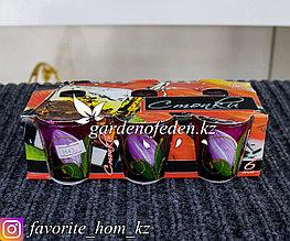 Набор стопок из цветного стекла, с декором. Материал: Стекло. Цвет: Разные цвета. Набор: 6шт.