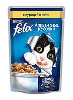 Felix, Феликс кусочки с курицей в желе для кошек, пауч*85гр